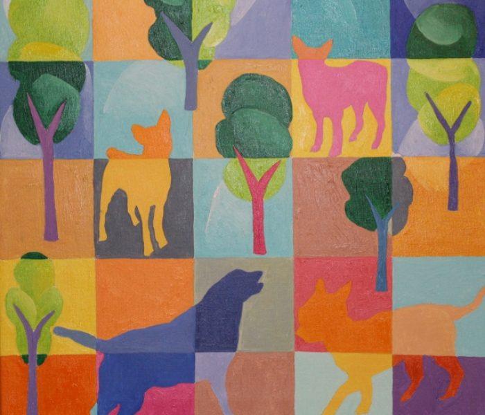 Cani al giardino di piazza Hortis davanti alla trattoria fiore 50x50 olio su tela (640x632)