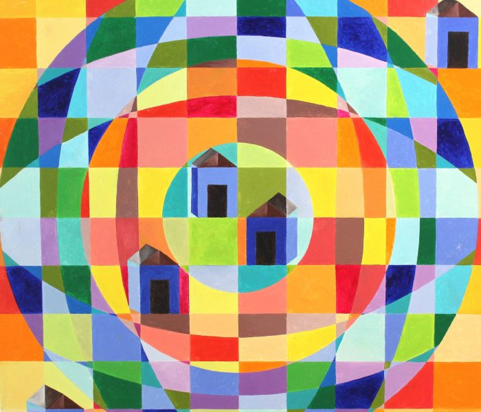 case blu olio su tela 100x100 anno 2012