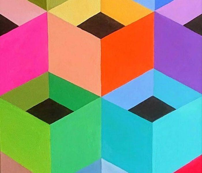 esaedri regolari e colorati anno2021 olio su tela misura50 x30