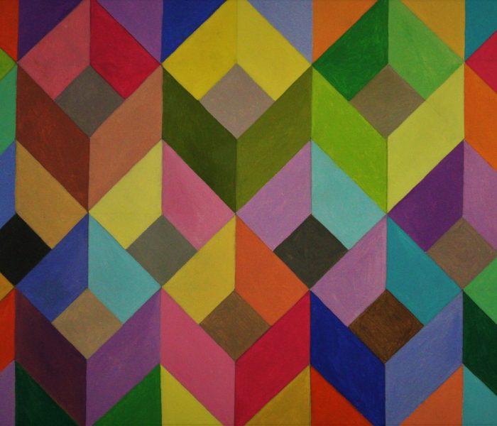 esaedri regolari misura 60 x 100 anno2020 olio su tela