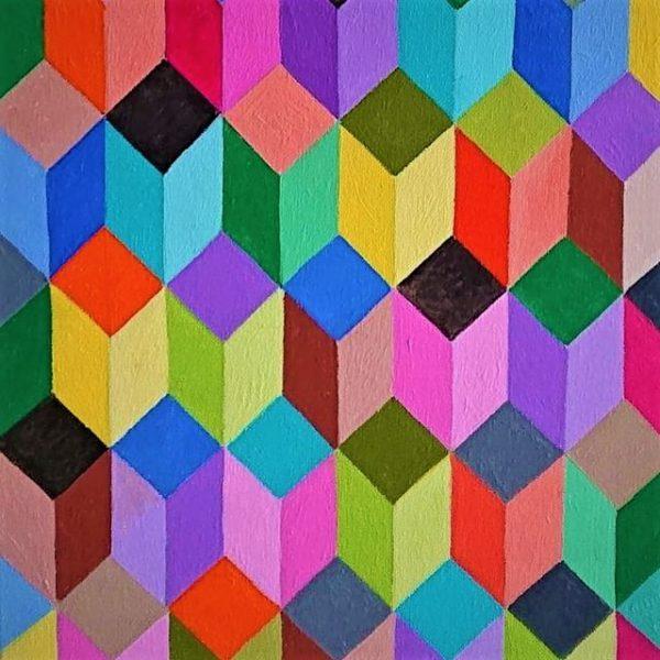 poliedri rettangolari e colorati posti su piani paralleli anno2021 olio su tela misura 30x40