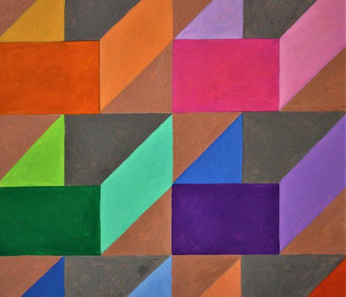 solidi a base rettangolare 50x50 olio su tela 2020