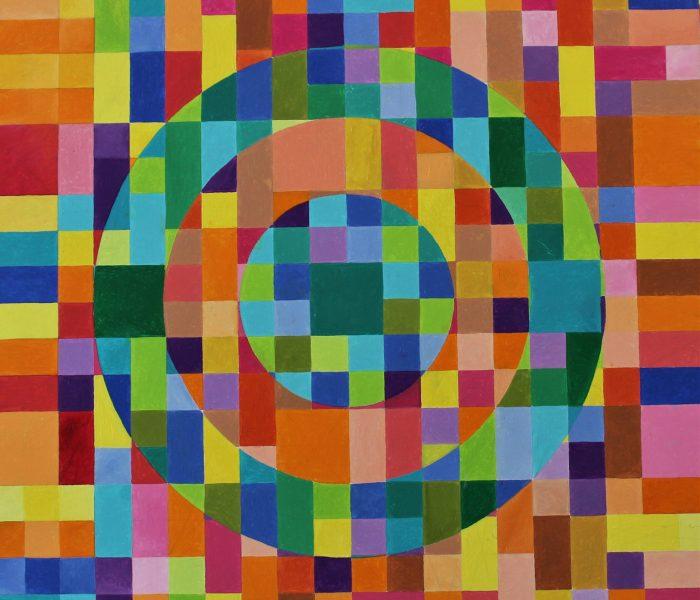 tre cerchi 100x100 anno2017 olio su tela