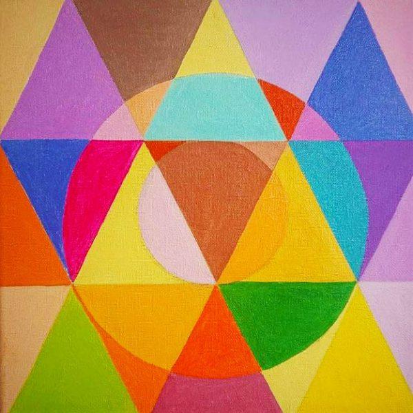 triangoli adiacenti congruenti e colorati in due cerchi anno 2021 olio su tela misura 30x 30
