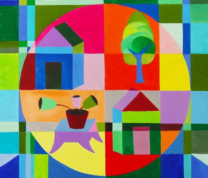 un cerchio un tavolo anno2019 misura50x70 olio su tela autore Carlo Fontana